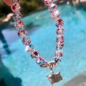 🇺🇸Fourth Of July Beaded Bracelet w/charm